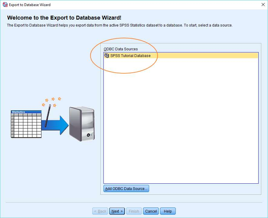 SPSS Export to Database wizard