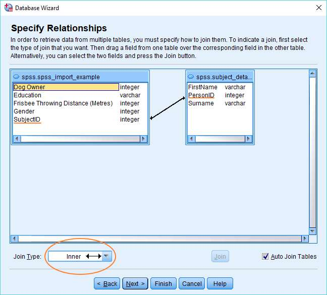 Specify relationships dialog