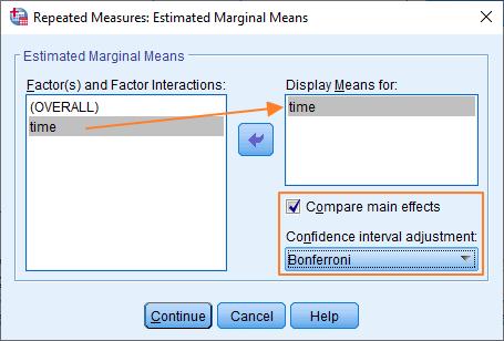 Estimated Marginal Means dialog box